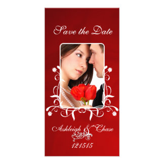 Elegant Red Satin Save the DateYour Photo Photo Card
