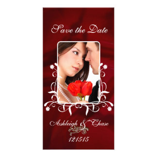 Elegant Red Satin Save the DateYour Photo Photo Card Template
