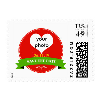 Elegant Red Save the Date Postage