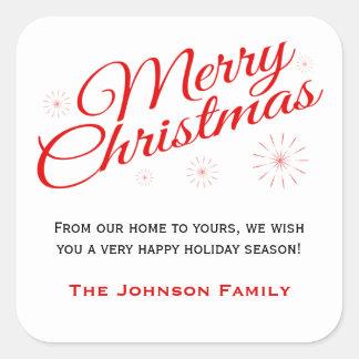 Elegant Red Script Merry Christmas Favor Labels Square Sticker