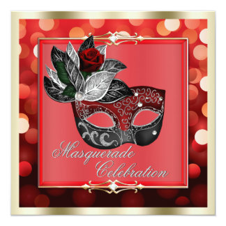 Elegant Red Shimmering Lights Bokeh Masquerade 5.25x5.25 Square Paper Invitation Card