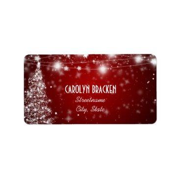 Christmas Themed Elegant Red Shimmering Stars Christmas Tree Label