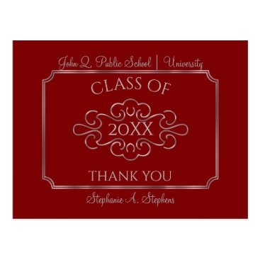 Beach Themed Elegant Red | Silver College Graduation Thank You Postcard