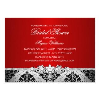 Elegant Red Silver Damask & Jewel Bridal Shower Card