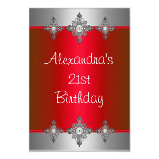 Elegant Red Silver Jewel 21st Birthday Personalized Announcement