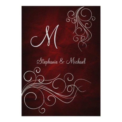 Elegant Red Silver Monogram Wedding Invitation
