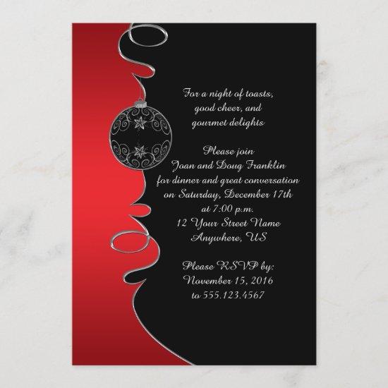 Elegant Red Silver Swirls Black Christmas Party Invitation