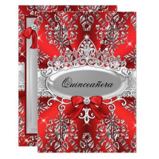 Elegant Red Silver Tiara Damask Quinceanera Invite