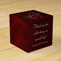 Elegant Red Silver Wedding Favor Box