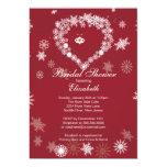 Elegant Red Snowflake Heart Winter Bridal Shower 5x7 Paper Invitation Card
