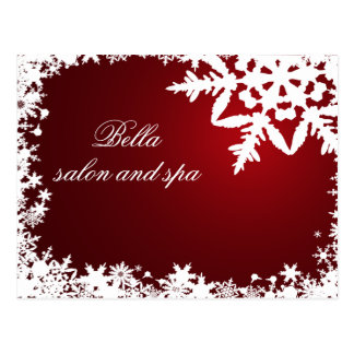 elegant red snowflakes business ThankYou Cards Post Card
