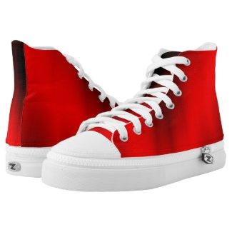 Elegant Red Splash High-Top Sneakers