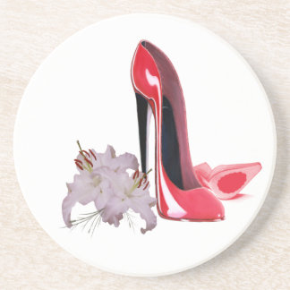 Elegant Red Stiletto Shoes and Lilies Coaster