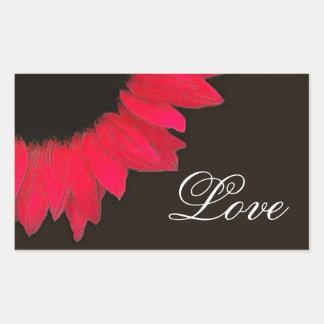 Elegant Red Sunflower Wedding A11Z Rectangular Sticker