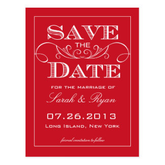 Elegant Red Swirl Save the Date Announcement Post Card