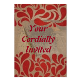 "Elegant Red Swirls Party Invite 5"" X 7"" Invitation Card"
