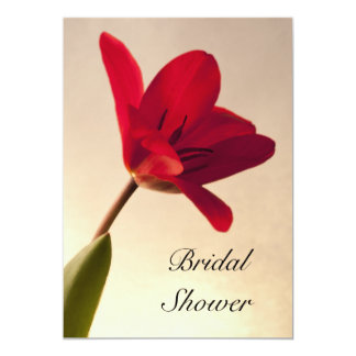 Elegant Red Tulip Bridal Shower Card