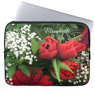 Elegant Red Tulips Personalized Laptop Sleeve