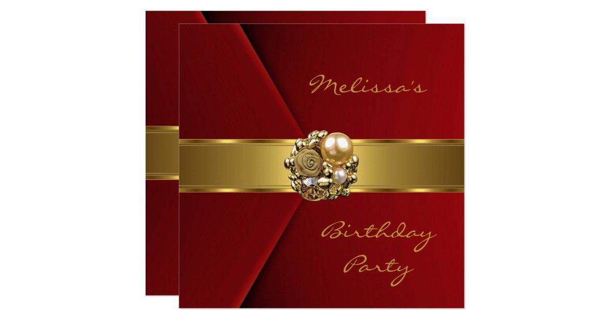 Velvet Wedding Invitations: Elegant Red Velvet Gold Jewel Invitation