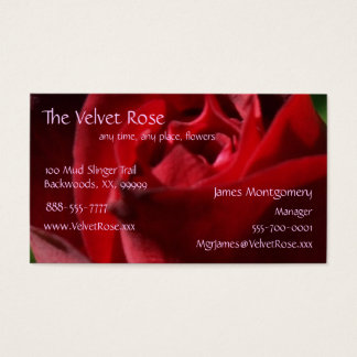 Elegant Red Velvet Rose Business Card