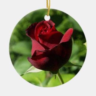 Elegant Red Velvet Rose Christmas Tree Ornament