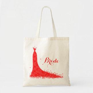 Elegant Red Vintage Lace Wedding Dress Budget Tote Bag