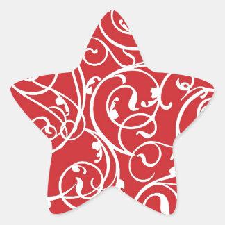 Elegant Red Vintage Scroll Damask Pattern Star Sticker