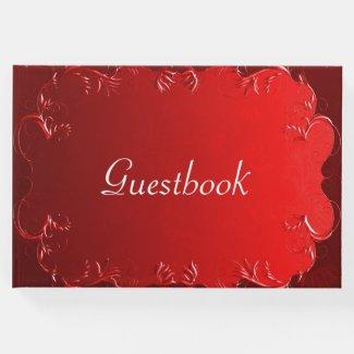 Elegant Red Wedding Guest Book