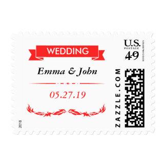 Elegant Red Wedding Postage Stamp