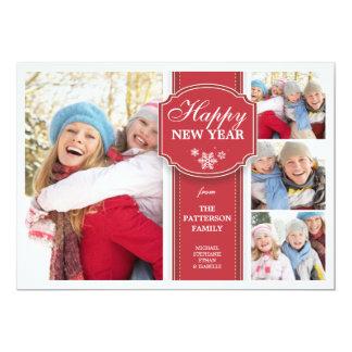 Elegant  Red & White 4 Photo New Year Photocard Card