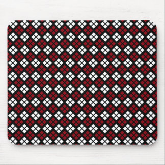 Elegant Red & White Argyle Pattern on Black Mouse Pad