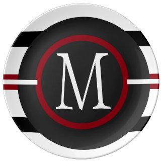 Elegant Red, White & Black Lines With Monogram Dinner Plate
