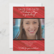 Elegant Red White Black Striped Graduation Save The Date