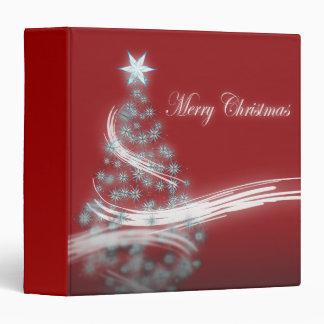 Elegant red white Christmas Tree Star  binder