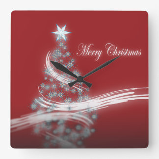 Elegant red white Christmas Tree Star decor colock Square Wall Clock
