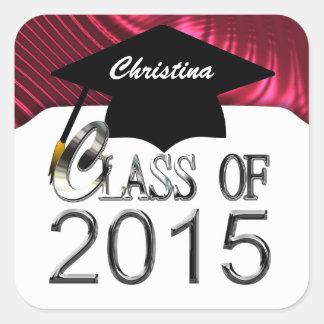 Elegant Red & White Class Of 2015 Graduation Seals Square Sticker