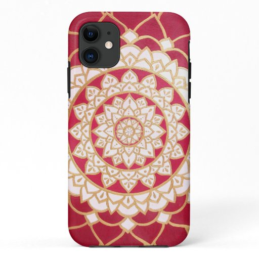 Elegant Red White Gold Luminous Mandala iPhone 11 Case