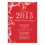 Elegant Red White Graduation Party Invitation