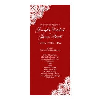 Elegant Red White Lace Vertical Wedding Programs