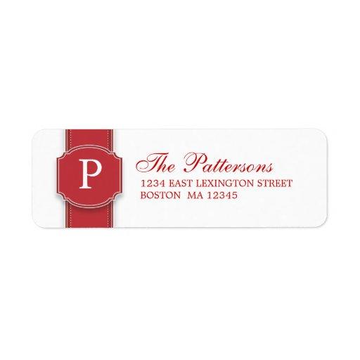 Elegant  Red & White Monogram Ribbon Address Label
