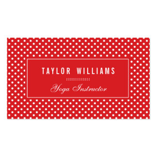 Elegant, Red & White Polka Dots Business Cards