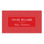 Elegant, Red & White Polka Dots Business Cards