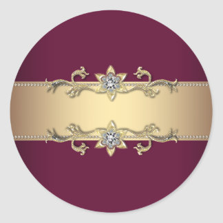 Elegant Red Wine and Gold Stickers