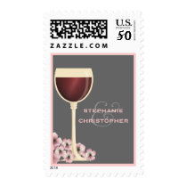 Elegant Red Wine & Blossom Couples Postage