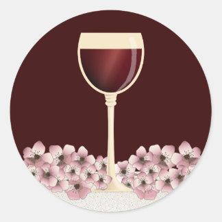Elegant Red Wine & Blossom Envelope Seal Classic Round Sticker