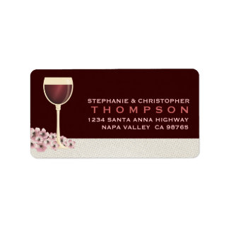 Elegant Red Wine & Blossom Large Address Label