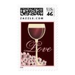 Elegant Red Wine & Cherry Blossom Love Postage