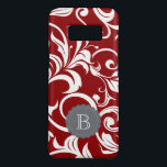 "Elegant Red Wine Floral Wallpaper Swirl Monogram Case-Mate Samsung Galaxy S8 Case<br><div class=""desc"">Sparkle Motion presents our newest range of the prettiest floral monogram phone cases available! This new pattern features deep wine red wallpaper swirls and with a modern gray monogram space for your custom initial.</div>"