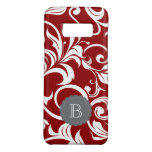 Elegant Red Wine Floral Wallpaper Swirl Monogram Case-Mate Samsung Galaxy S8 Case<br><div class='desc'>Sparkle Motion presents our newest range of the prettiest floral monogram phone cases available! This new pattern features deep wine red wallpaper swirls and with a modern gray monogram space for your custom initial.</div>
