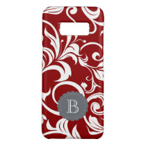 Elegant Red Wine Floral Wallpaper Swirl Monogram Case-Mate Samsung Galaxy S8 Case